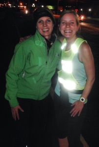 with fellow run club friend, eileen. we are polar opposites. she wears long tights in the summer!